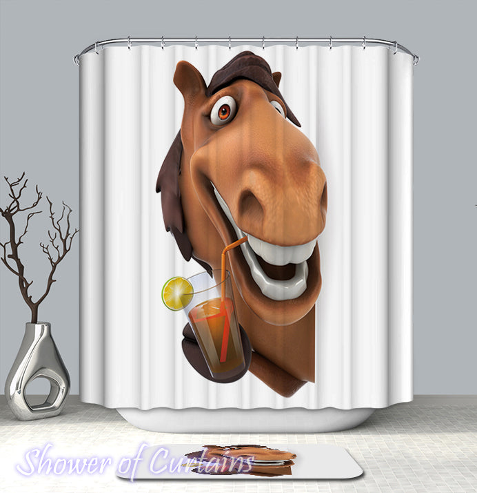 Friendly Horse shower curtain