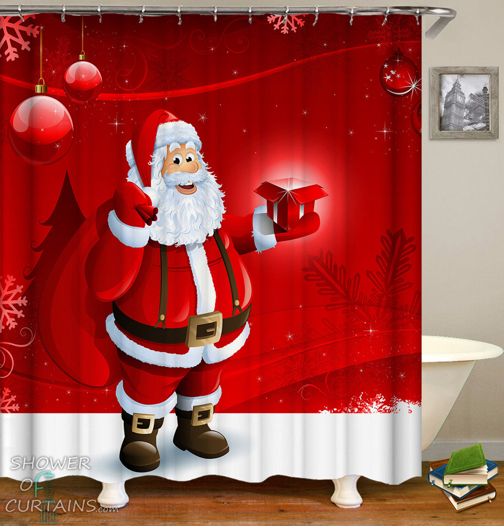 Friendly Santa Claus Shower Curtain