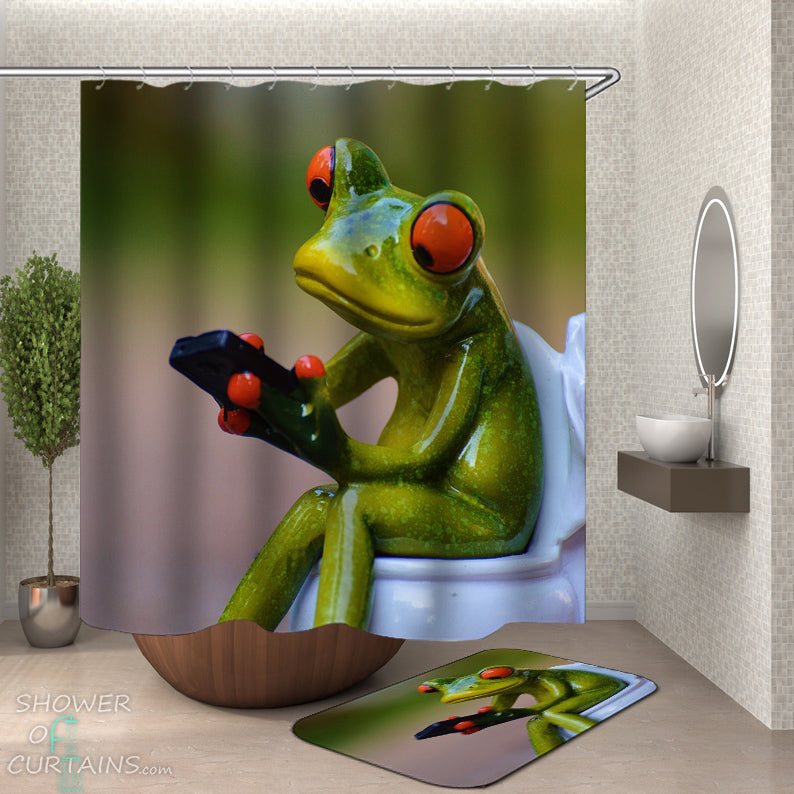 Frog Shower Curtain of Frog On Toilet