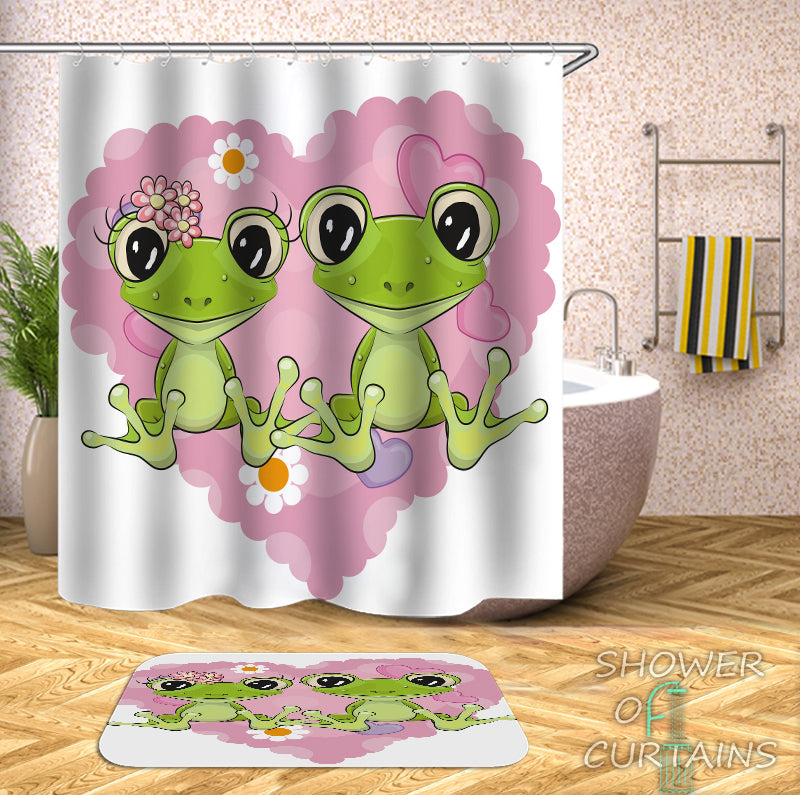 Frog Shower Curtain of Lovely Cartoon Frogs