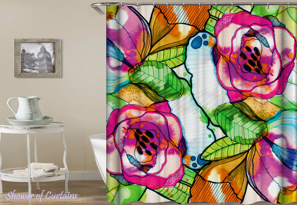 Full Of Colors Flowers And Leaves Shower Curtain print