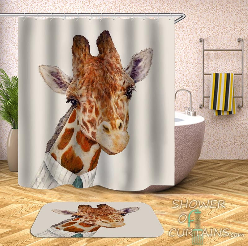 Funny Shower Curtains of a Giraffe