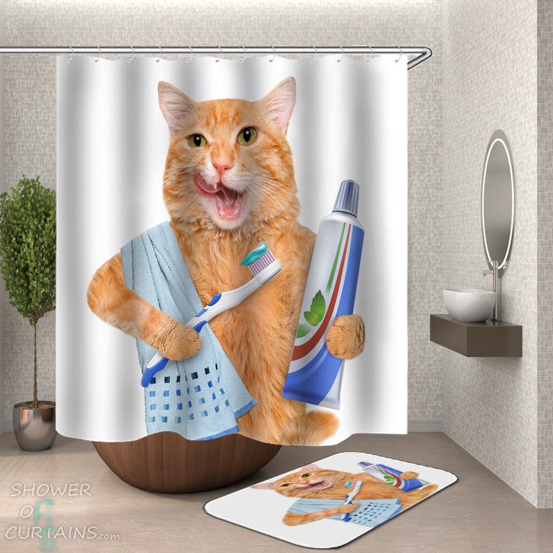 Funny Cat Shower  Curtain - Cat Brushing Its Teeth
