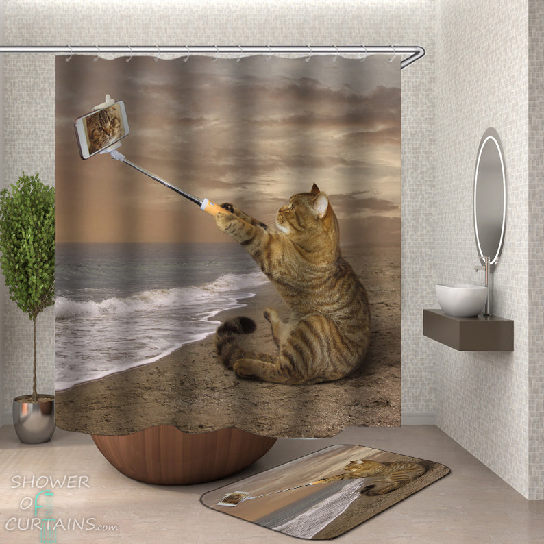 Funny Cat Shower Curtain of Cat's Selfie On The Beach Shower Curtain