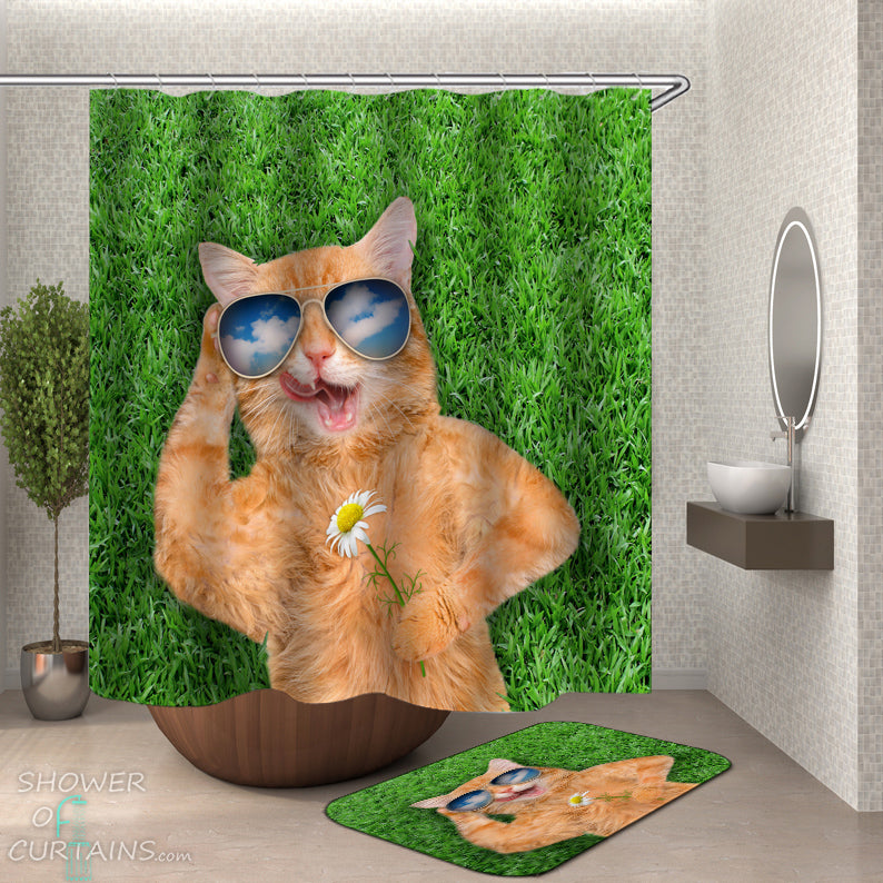 Funny Cat Shower Curtain Of Chilling Out