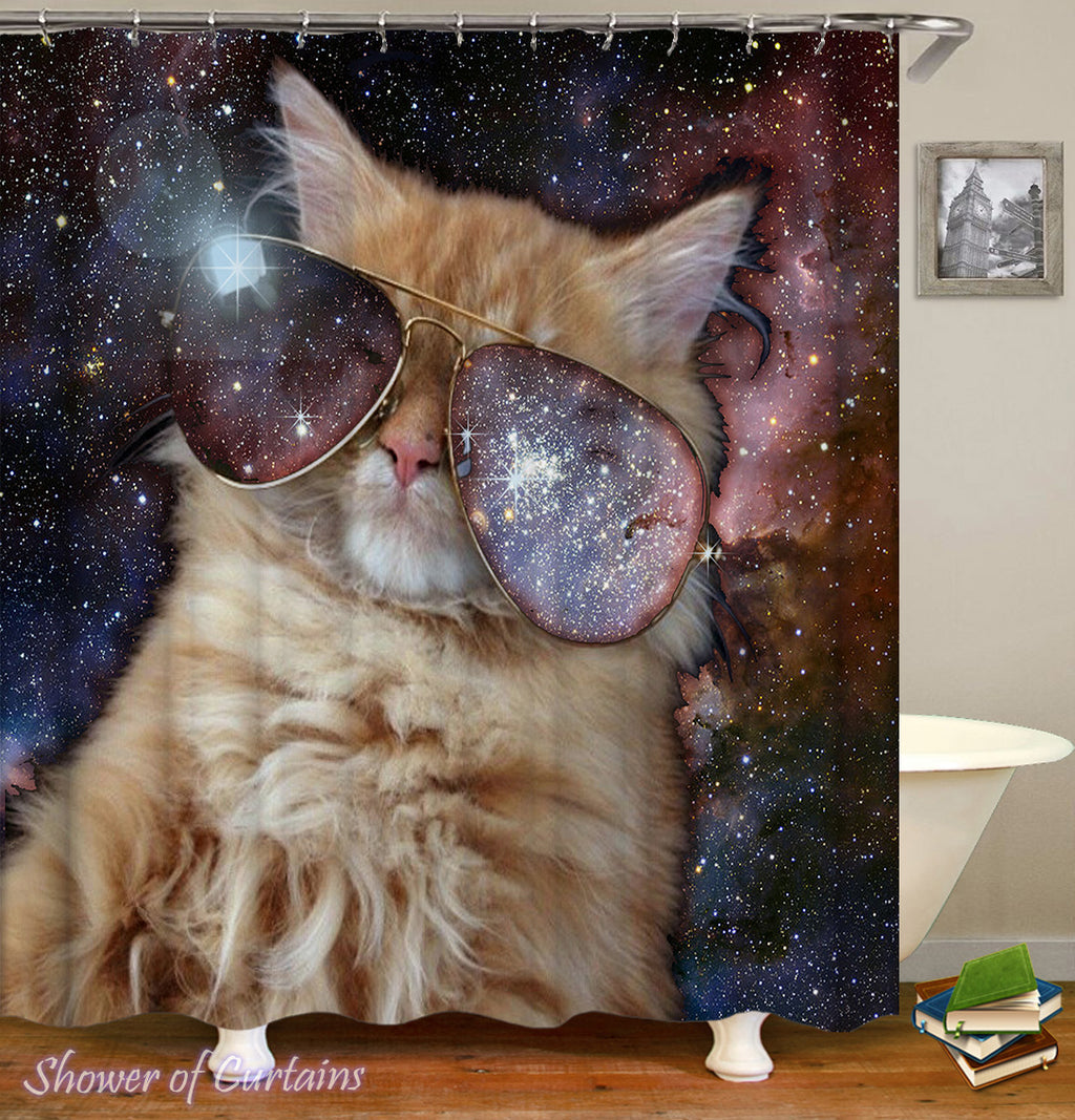 Funny Cat Shower Curtain of Galaxy Shades Cat