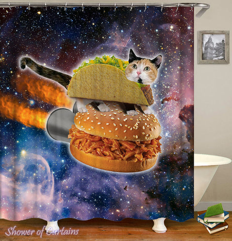 Funny Cat Shower Curtain of Taco Cat In Space