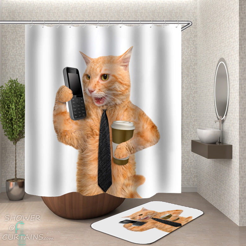 Funny Cat Shower Curtains Of Business Curtain