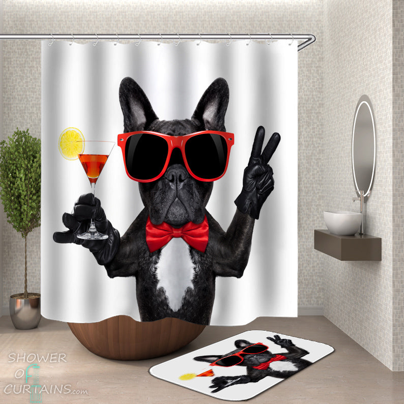 Funny Dog Shower Curtains of Classic Rich Dog Shower Curtain