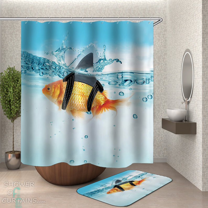Funny Fish Shower Curtain of Gold Shark Fish