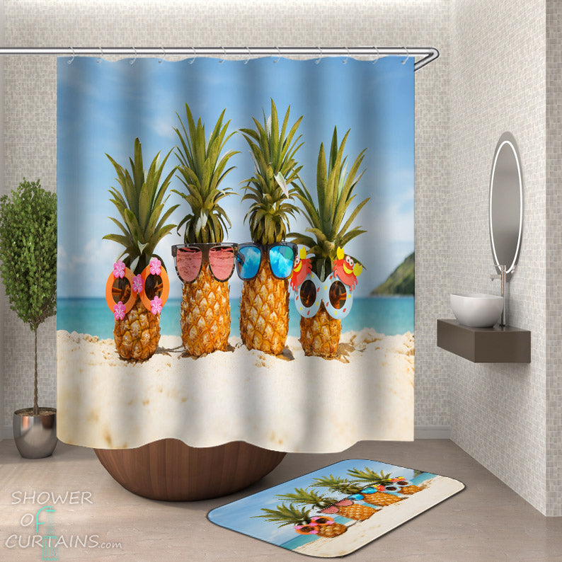Funny Pineaple Shower Curtains - Sunglasses Pineapples at the Beach