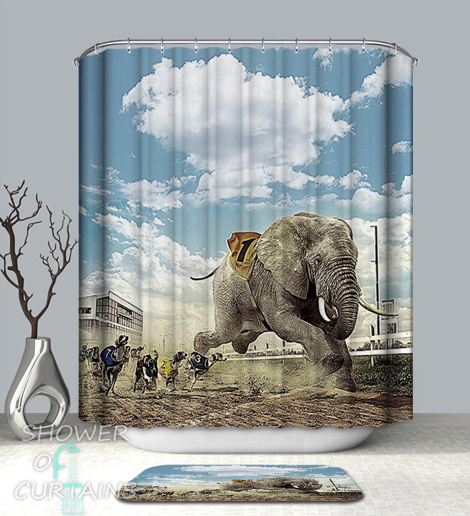 Funny Shower Curtain of Elephant Hits The Track