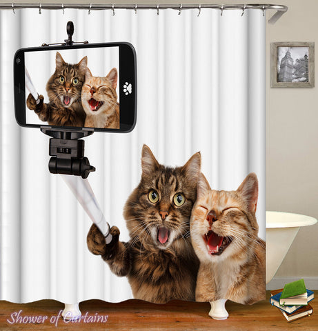 Funny Shower Curtains - Cats Taking A Selfie