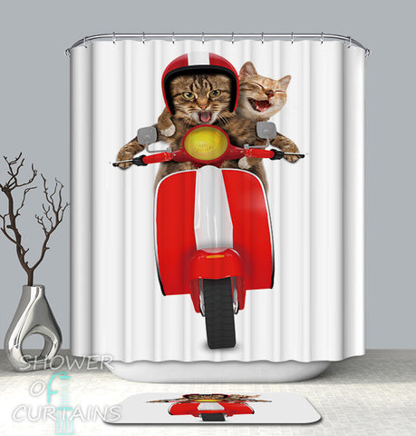 Funny Shower Curtains - Crazy Cats On A Vespa