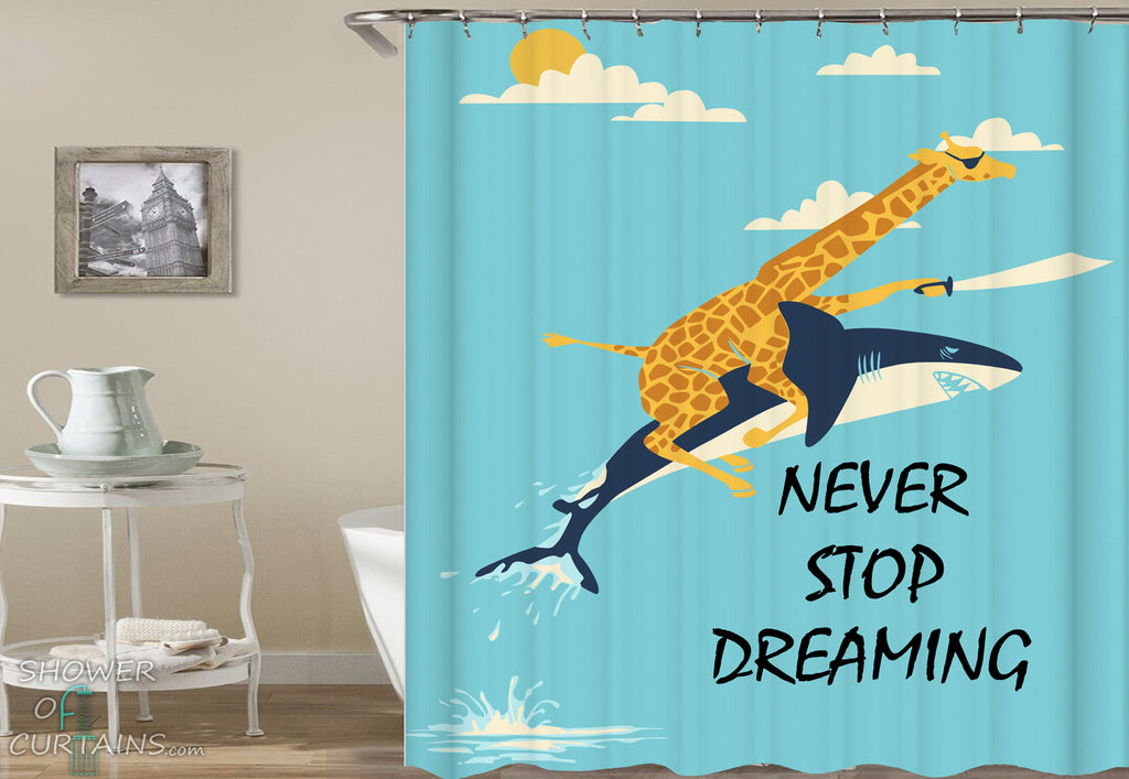 Funny Shower Curtains - Pirate Giraffe Rides A Shark