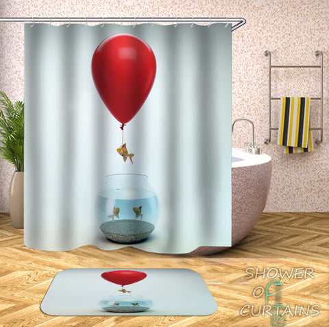 Funny Shower Curtains - Runaway Fish Shower Curtain