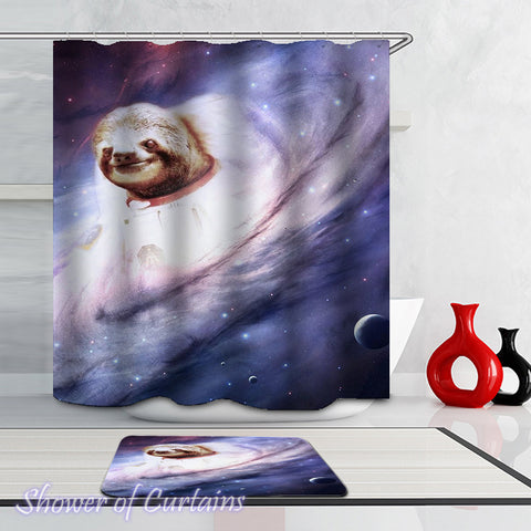 Funny Shower Curtains - Sloth In The Milky Way