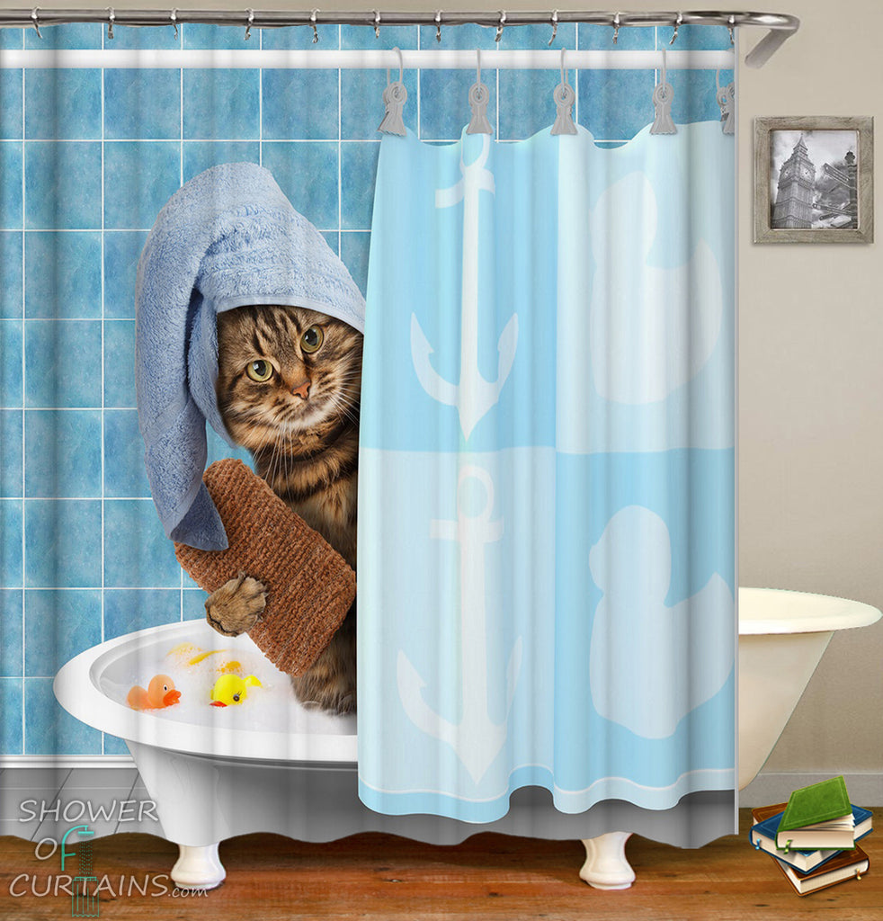 Funny Shower Curtains of Bathing Cat Shower Curtain