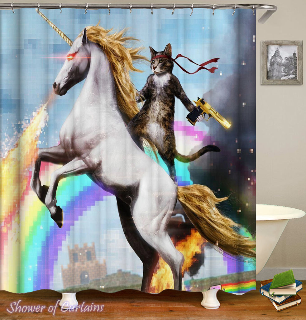 Funny Shower Curtains of Cat Riding A Unicorn