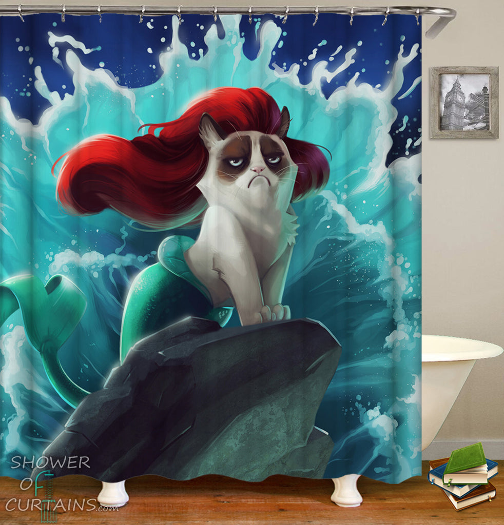 Funny Shower Curtains of Mermaid Cat