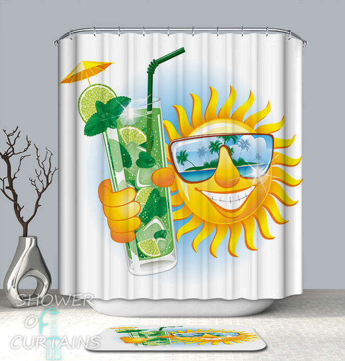 Funny and Cool Shower Curtain of Drinking Mojito Sun