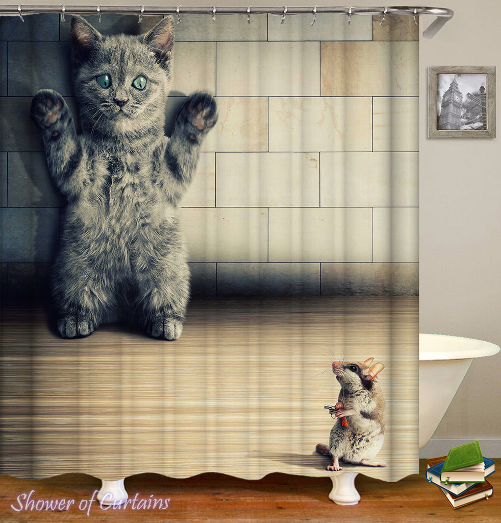 Funny cat shower curtain - Mouse VS. Cat 1-0 Mouse