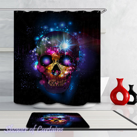 Galaxy Skull Shower Curtain - Skull Bathroom Decor - Skull Bath Mat