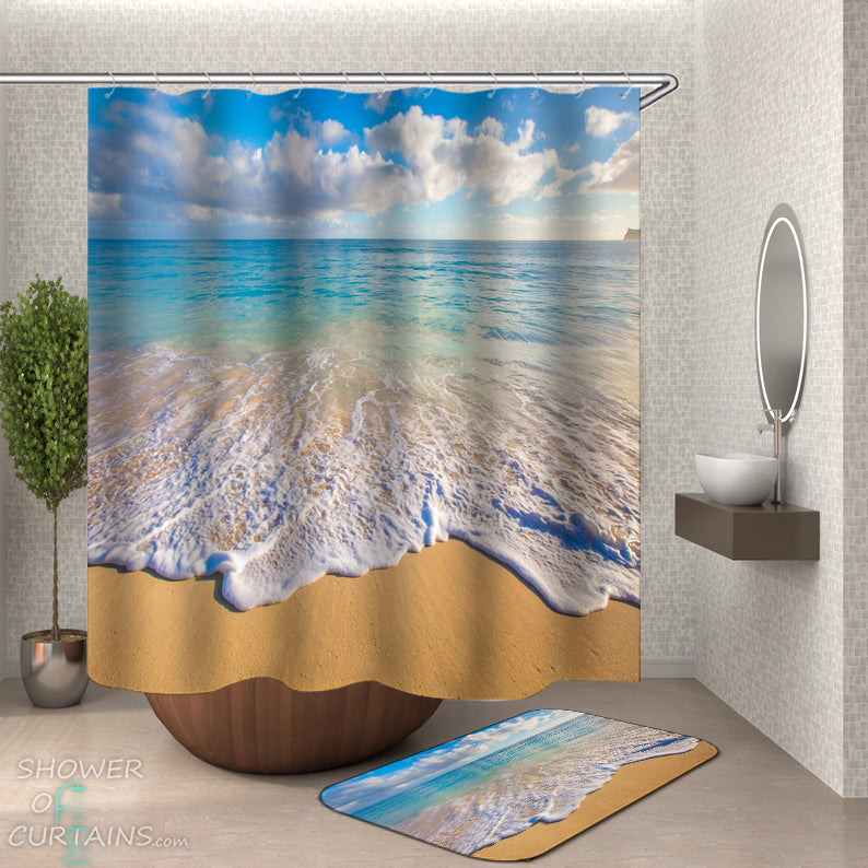 Gentle Ocean Shower Curtain and Bath Mat