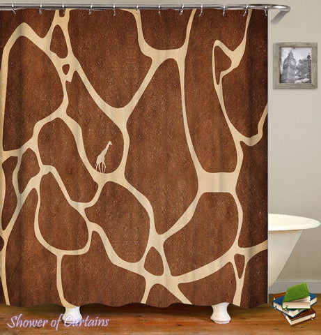 Giraffe Shower Curtain - Giraffe Skin Pattern