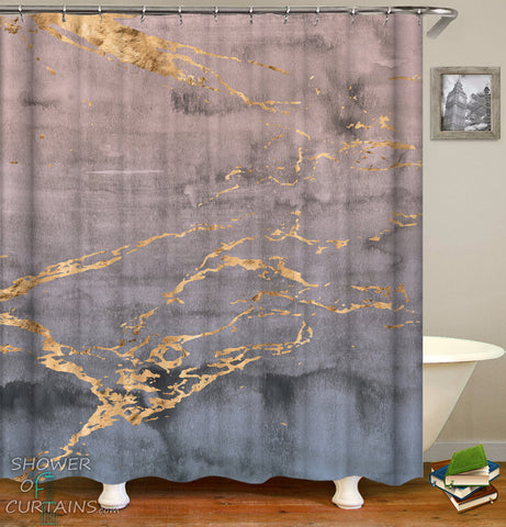 Golden Dark Marble Shower Curtain