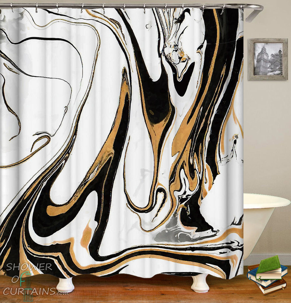 Golden Black Marble Shower Curtains and Bath Mats