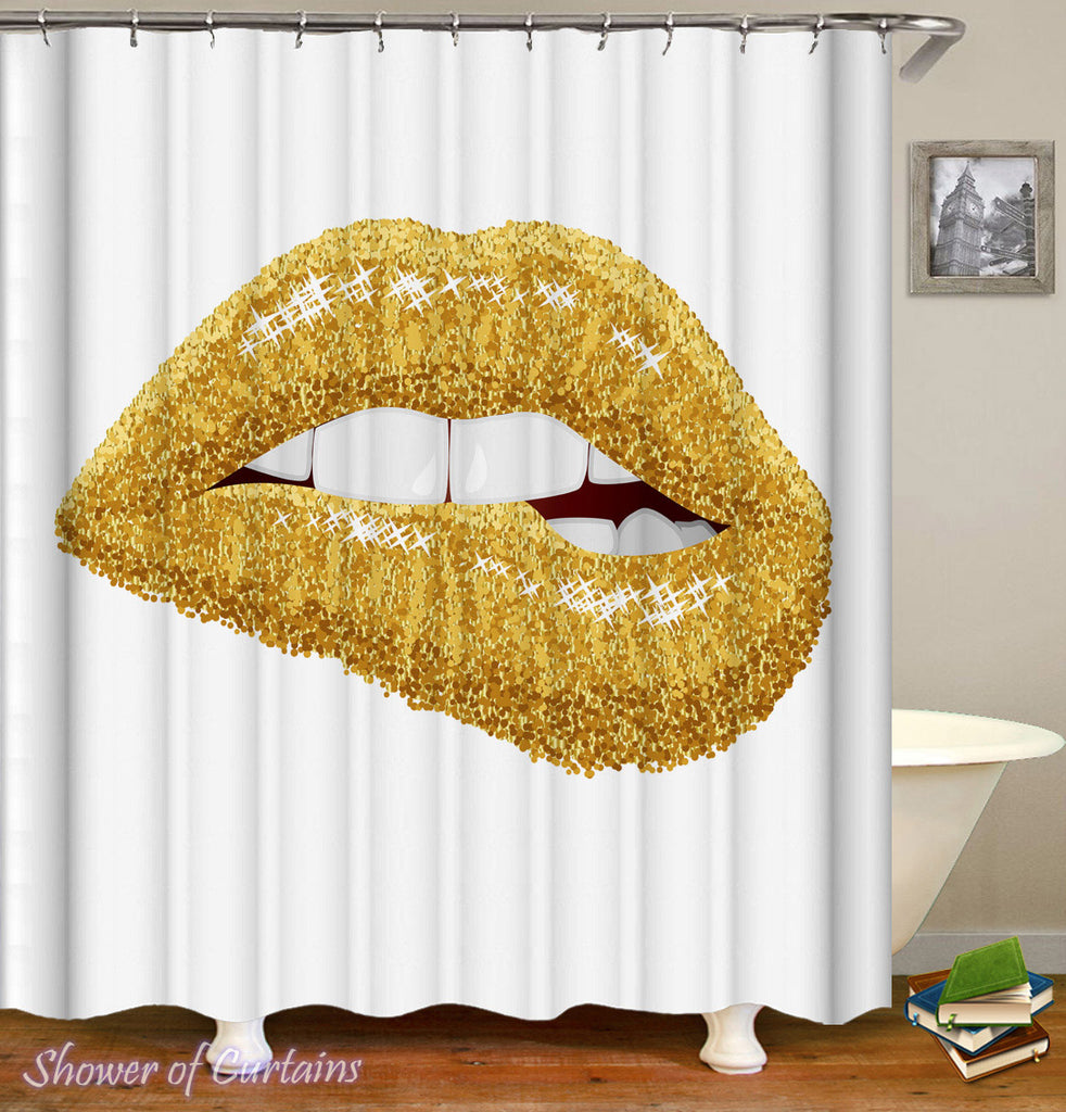 Golden Lips Shower Curtain