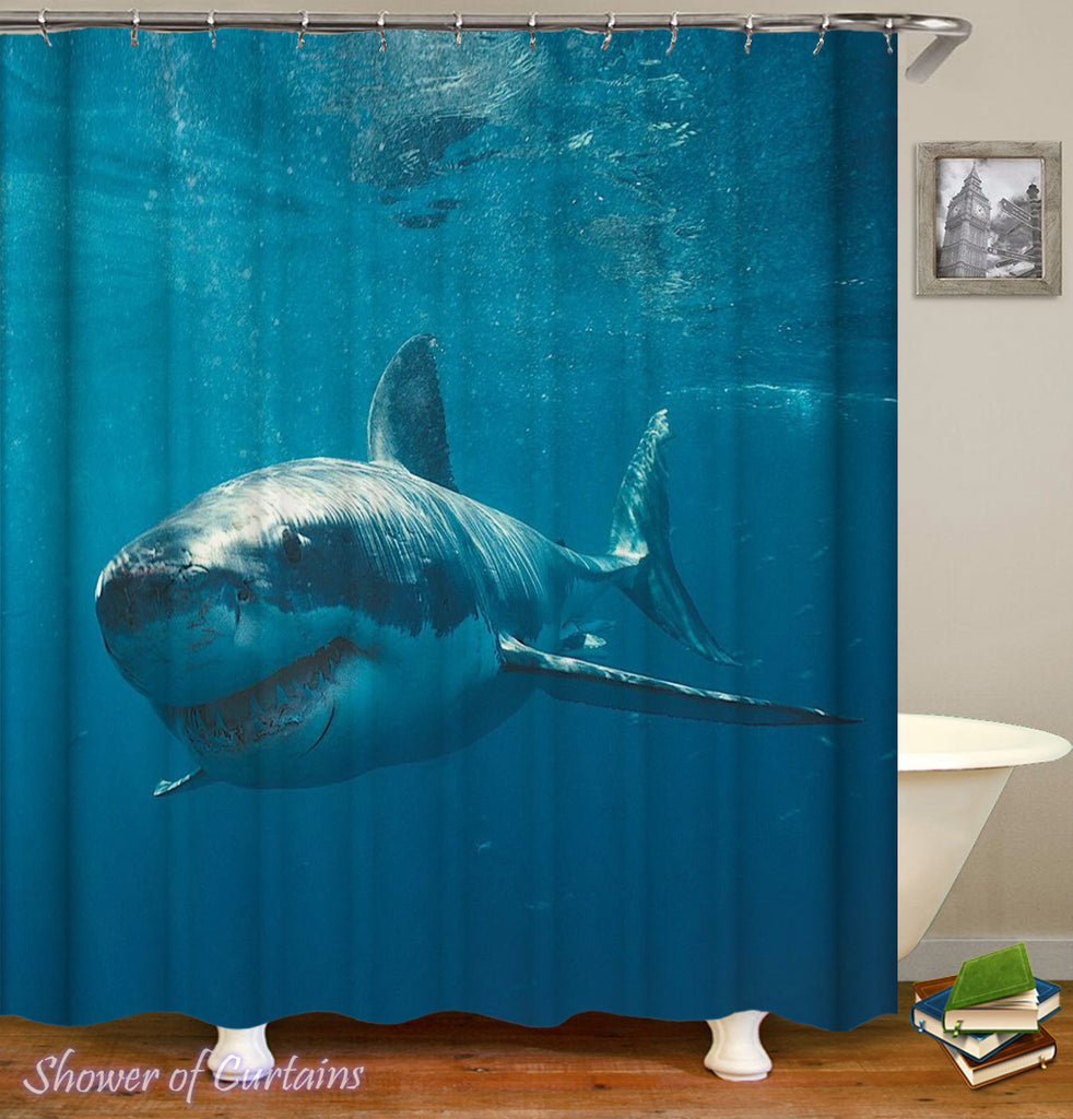 Great White Shark Shower Curtain