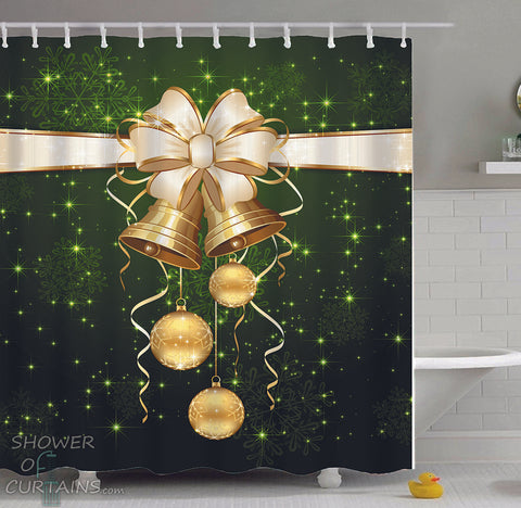 Green Christmas Shower Curtains Design