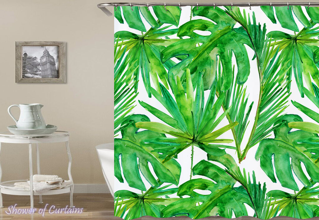 Green Leaves Drawing - green shower curtain