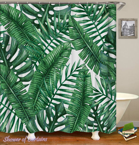 Green Leaves Painting - tropical shower curtains