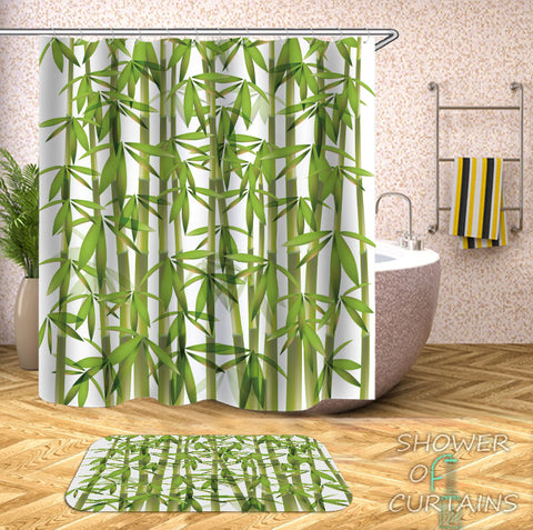 Green Shower Curtain of Fresh Bamboo