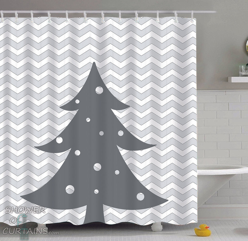 Grey And White Christmas Tree Shower Curtain