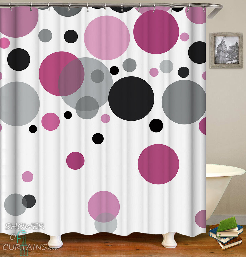 Grey Black And Purple Shower Curtain