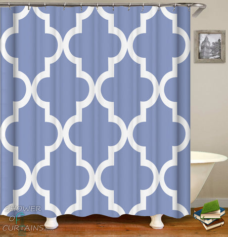 Greyish-Blue Moroccan Shower Curtain - Oriental Bathroom Decor