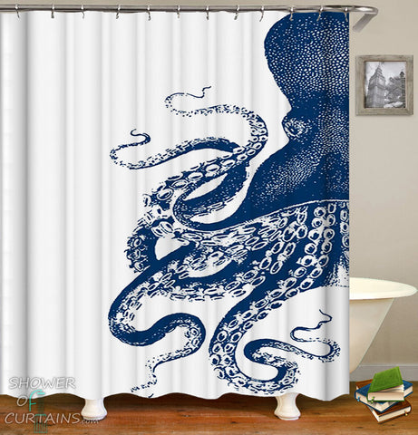 Half Octopus Shower Curtain