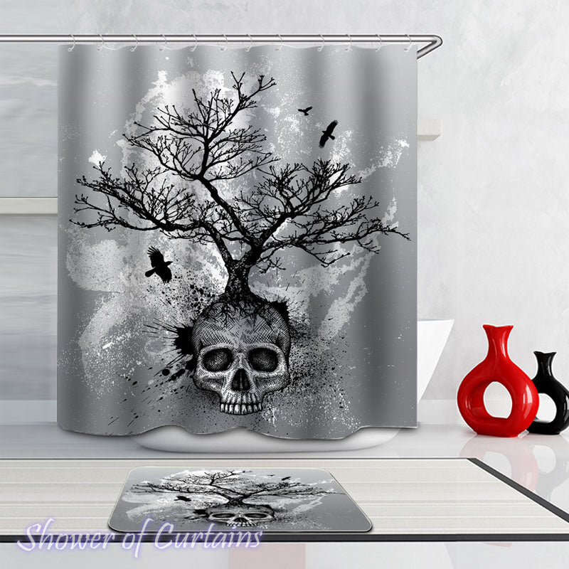 Half Skull Tree shower curtain