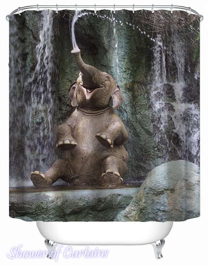 Happy Elephant Shower Curtain - Funny Shower Curtains
