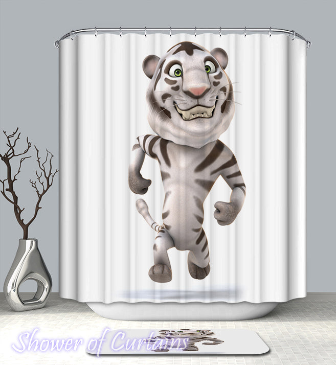 Shower Curtain of White Tiger Figure