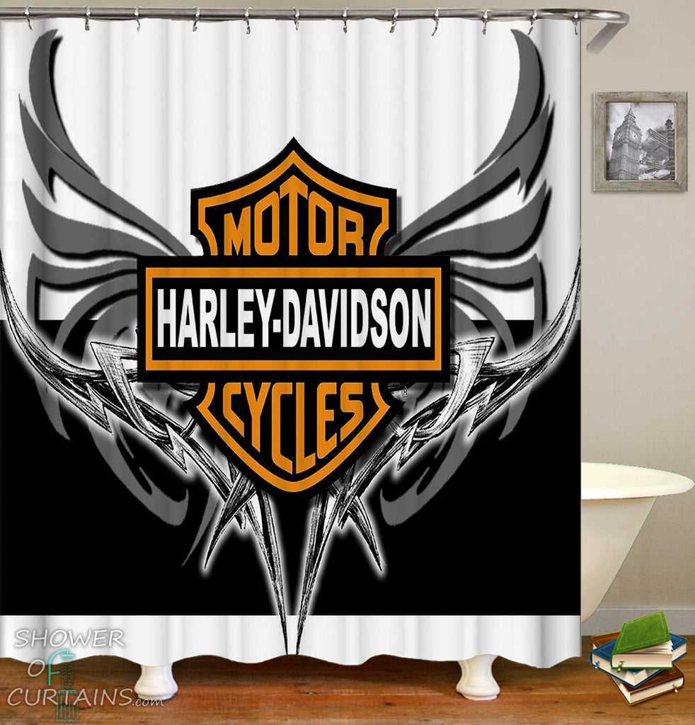 Harley Davidson Shower Curtain of Harley Davidson Metal Wings