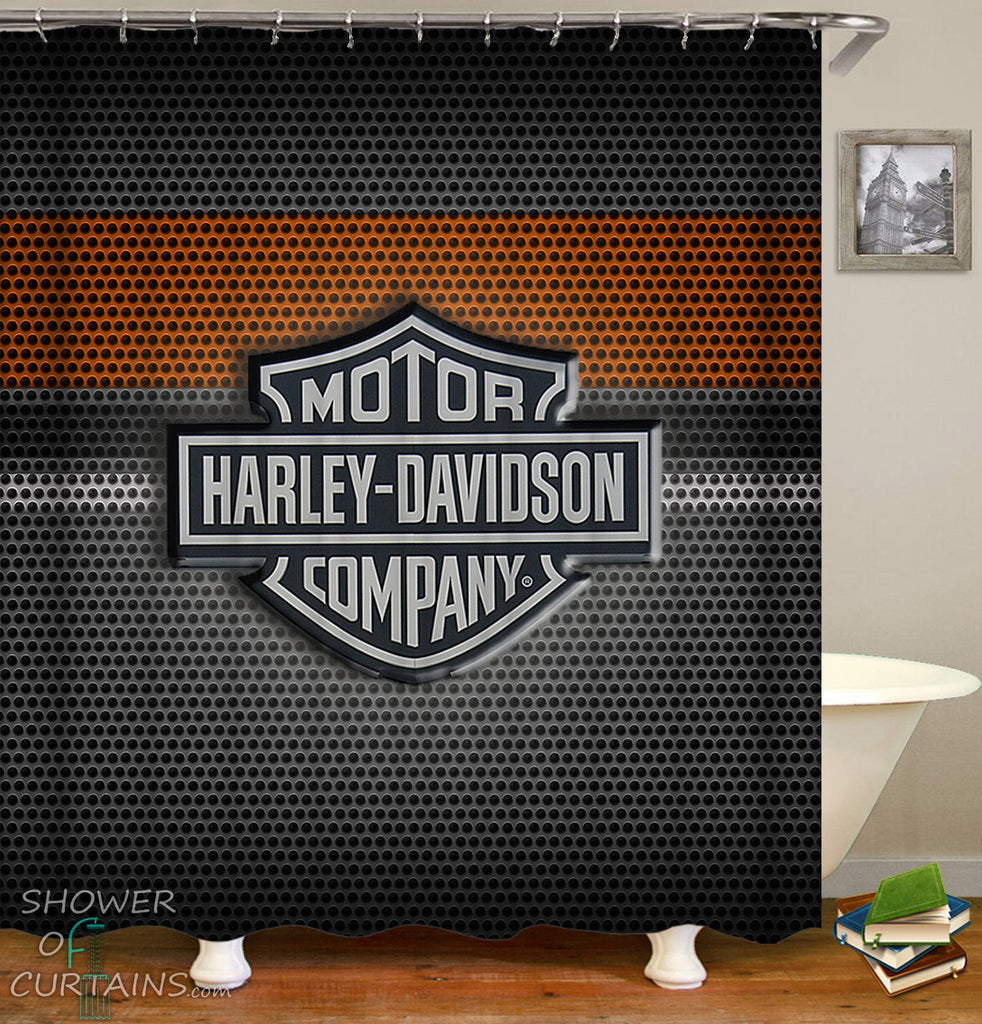 Harley Davidson Shower Curtain of Steel Logo
