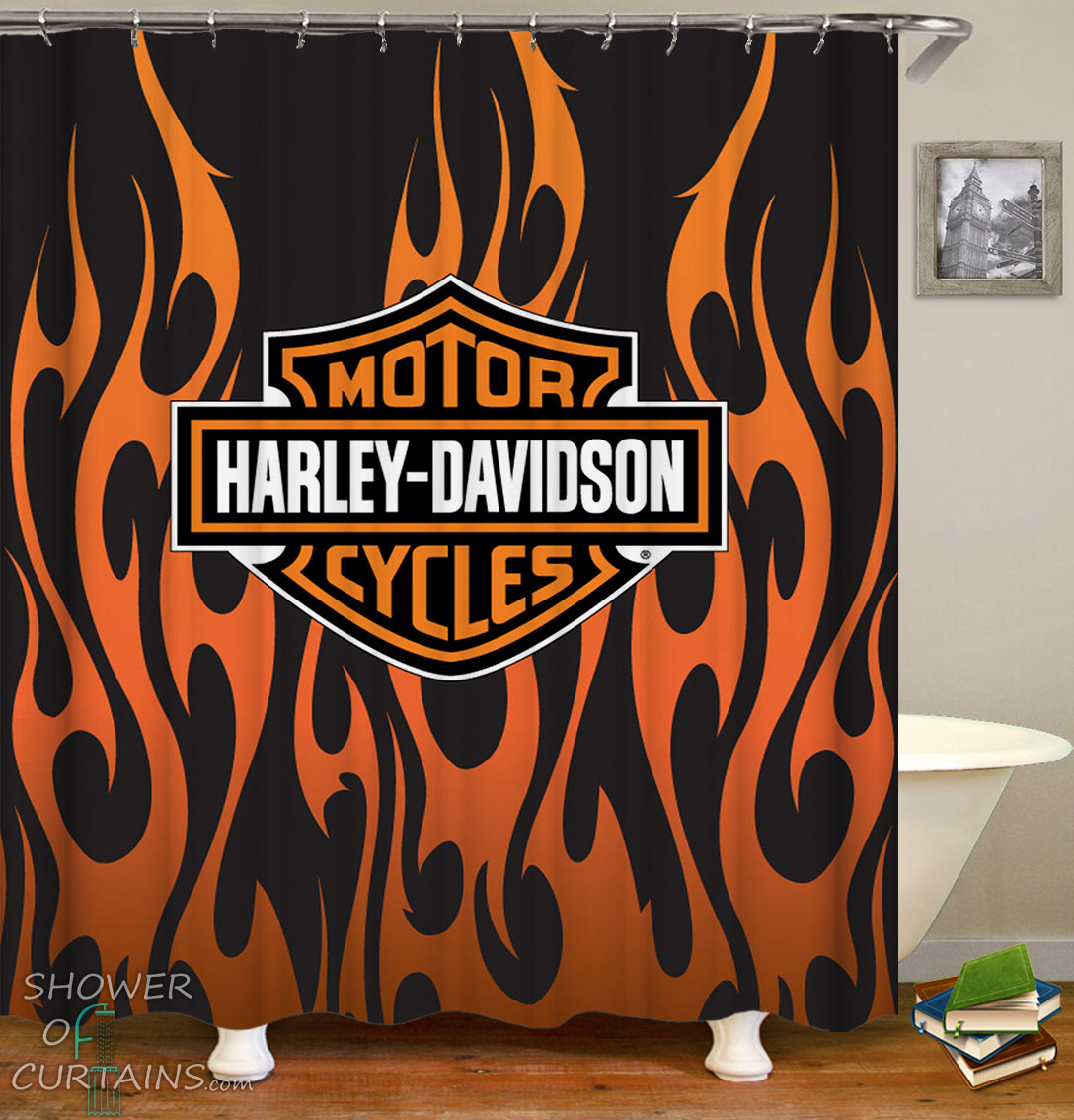 Shower Curtains Harley Davidson Flames Shower Of Curtains