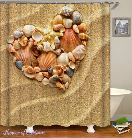 Heart Shape Seashells Shower Curtain