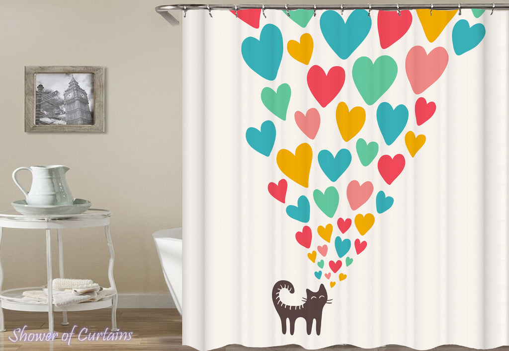 Shower Curtains | Hearts Sending Cat – Shower of Curtains