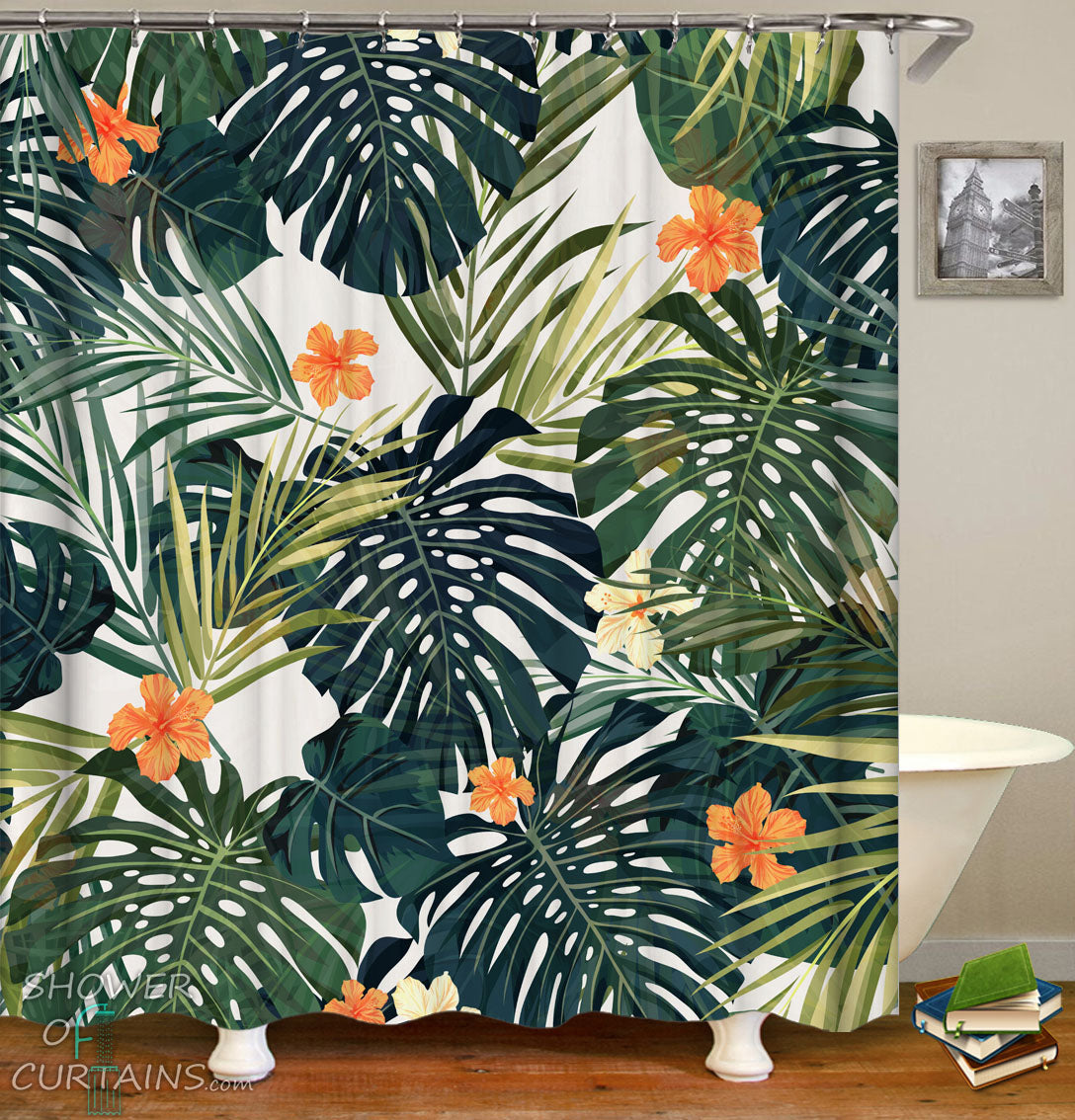 Hibiscus Shower Curtain Of And Green Leaves